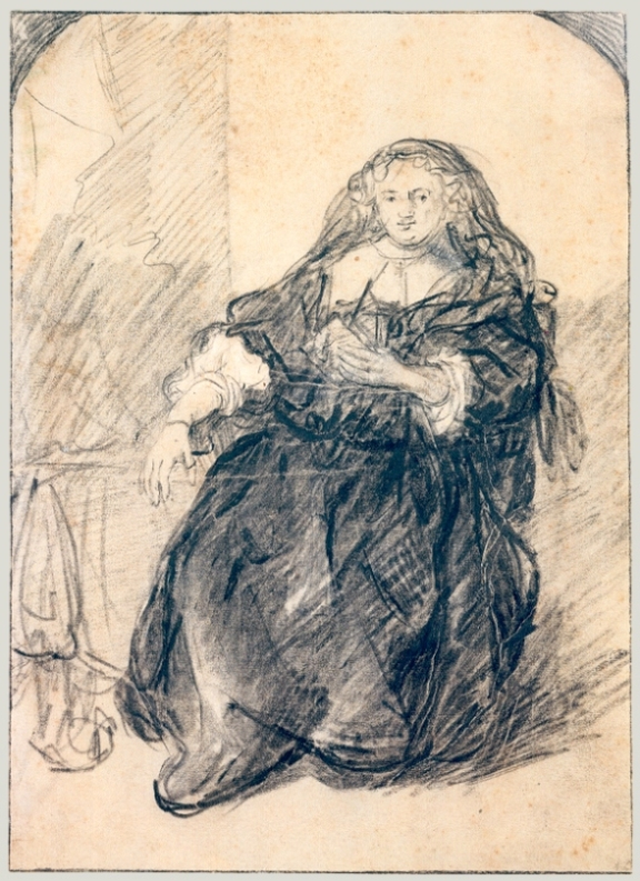 Rembrandt van Rijn - Seated Saskia with a letter in her left hand 1633-1635