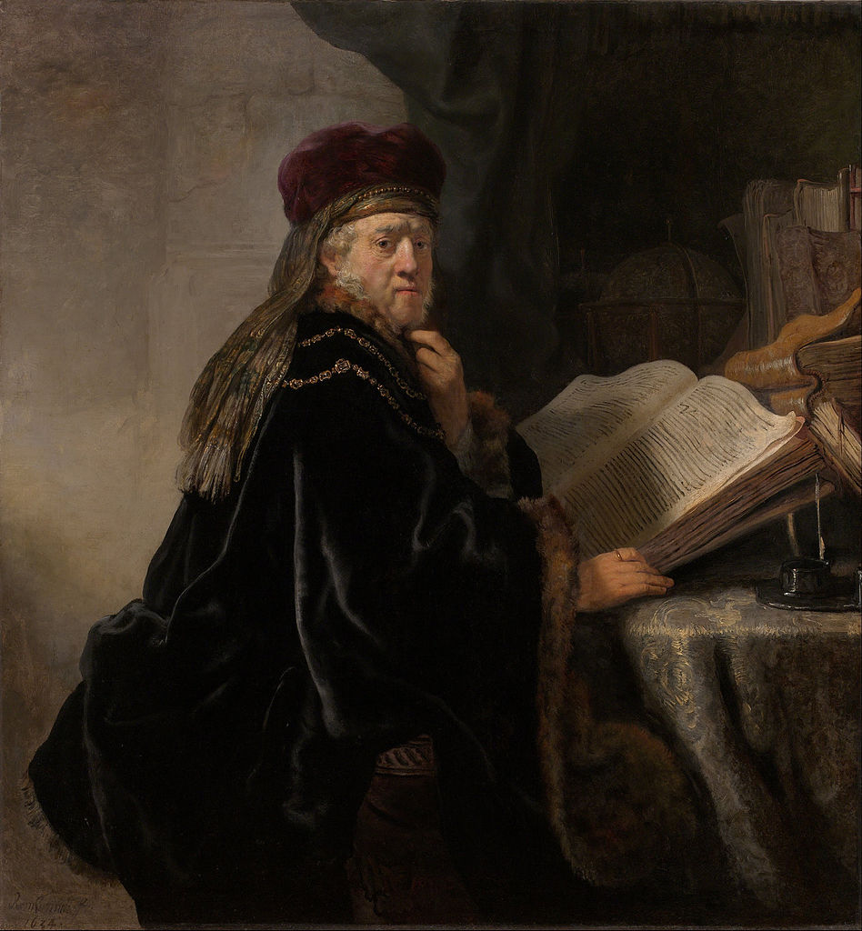 Rembrandt van Rijn - A Scholar Seated at a Table with Books 1634