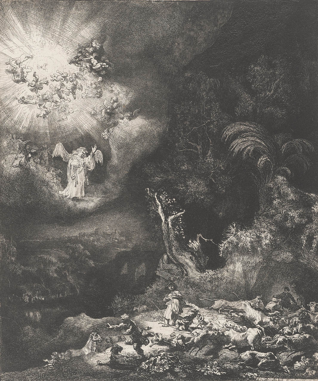 Rembrandt van Rijn - The angel appearing to the shepherds 1634