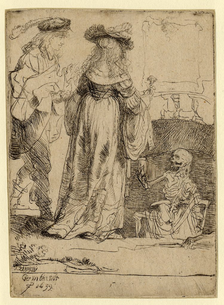 Rembrandt van Rijn - Death appearing to a wedded couple from an open grave 1639