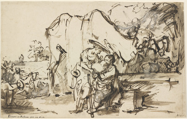 Rembrandt van Rijn - Eliezer and Rebecca at the Well 1640