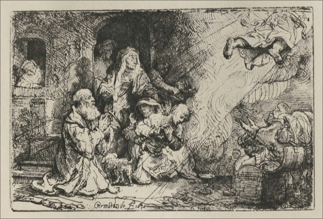 Rembrandt van Rijn - Angel Departing from the Family of Tobias 1641