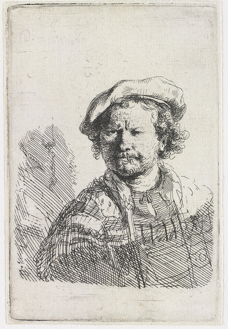 Rembrandt van Rijn - Self-portrait in a flat cap and embroidered dress 1642