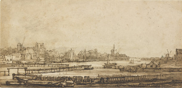 Rembrandt van Rijn - View over the Amstel from the Rampart 1646-1650