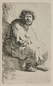 Rembrandt van Rijn - A Beggar Sitting on a Hollock, with his Mouth Open 1630