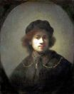 Rembrandt van Rijn - Self Portrait with Beret and Gold Chain 1631