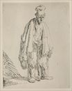 Rembrandt van Rijn - A Beggar Standing and Leaning on a Stick 1632