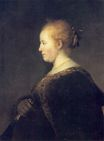 Rembrandt van Rijn - A Young Woman in Profile with a Fan 1632