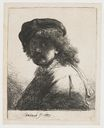 Rembrandt van Rijn - Self-portrait in a cap and scarf with the face dark bust 1633