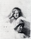 Rembrandt van Rijn - Sheet Of Sketches With A Portrait Of Saskia 1635