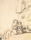 Rembrandt van Rijn - A Woman with a Child Frightened by a Dog 1636