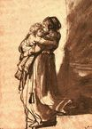 Rembrandt van Rijn - Woman Carrying a Child Downstairs 1636