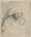 Rembrandt van Rijn - Sick woman with a large white headdress. Saskia 1642
