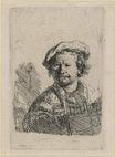 Rembrandt van Rijn - Self Portrait in a Flat Cap and Embroidered Dress 1642
