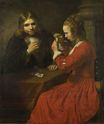 Rembrandt van Rijn - A Young Man and a Girl playing Cards 1645-1650