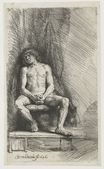 Rembrandt van Rijn - Nude man seated before a curtain 1646