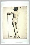 Man standing, leaning on a stick 1877