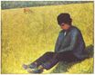 Peasant boy sitting in a meadow 1882-1883