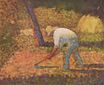 Georges Seurat most famous paintings. Peasant with Hoe 1882