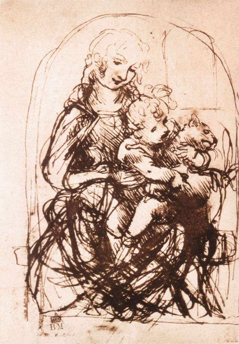 Leonardo da Vinci - Study of the Madonna and Child with a Cat 1478