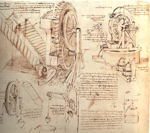 Leonardo da Vinci - Drawings of Water Lifting Devices 1481