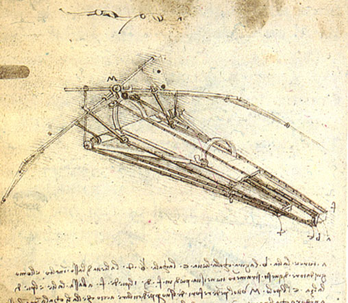 Leonardo da Vinci - One of Leonardo da Vinci's designs for an Ornithopter 1489