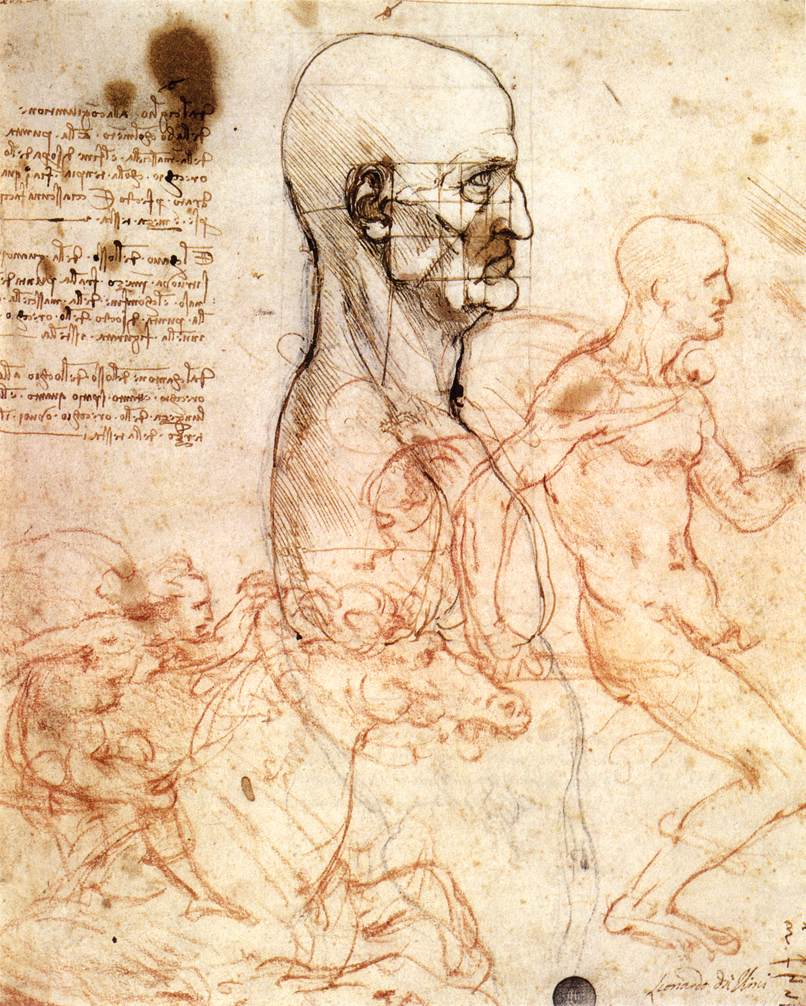 Leonardo da Vinci - Profile of a man and study of two riders 1497