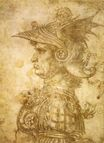 Leonardo da Vinci - Profile of a warrior in helmet 1472