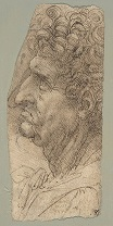 Leonardo da Vinci - Head of a Man in Profile Facing to the Left 1490-1494
