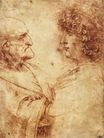 Leonardo da Vinci - Heads of an old man and a youth 1495