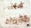 Leonardo da Vinci - Page from a notebook showing figures fighting on horseback and on foot 1504
