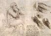 Leonardo da Vinci - A seated man, and studies and notes on the movement of water 1510