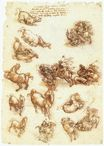 Leonardo da Vinci - Study sheet with horses 1513