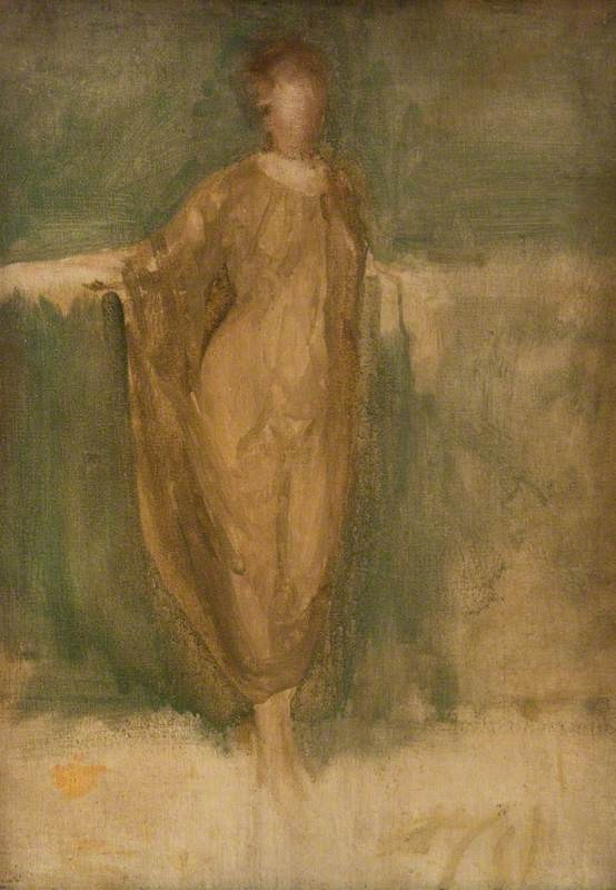 Harmony in Green and Amber: A Draped Study 1900