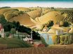Grant Wood most famous paintings. Stone city, Iowa 1930