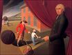 Grant Wood most famous paintings. Parson Weem's Fable 1939