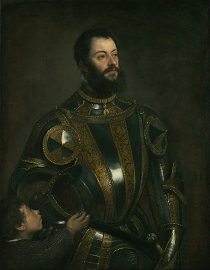 Titian - Portrait of Alfonso d'Avalos, Marquis of Vasto, in Armor with a Page 1533