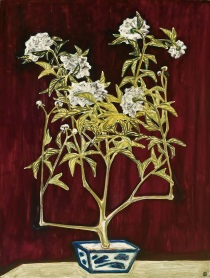 Sanyu (Chang Yu) - Potted Chrysanthemum in a Blue and White Jardinière 1950s
